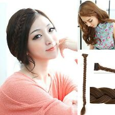Black/Brown Long Straight Hair Extension Fishbone Braids Crochet Clips Hairpiece