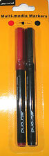 288 CD Pens (144 Twin Pk) Strand CD DVD Permanent Marker Pens Fine Tip Red/Black
