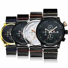 Luxury Quartz Mens Watches Date Black Stainless Steel Sport Army Silicone Band