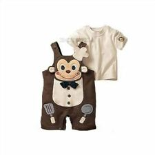 2Pcs Cook Monkey Girl Baby Boy Top+Pants Overalls Romper Toddler Outfit Clothe W