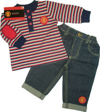 Manchester United Man Utd Striped Top Jeans Set Baby Boys Official