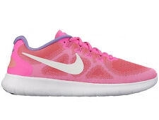NEW WOMENS NIKE FREE RN (RUN) 2017 RUNNING SHOES TRAINERS RACER PINK / OFF WHITE