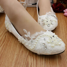 Ivory Pearl Flower Wedding Lace Bridal Bridesmaid Flat High Low Heels shoes 3-9