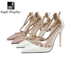 UK Womens Studded Shoes Pointed Toe Ankle Strappy Pumps High Heels Rivet Sandals