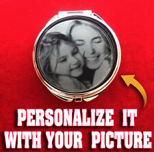 Personalized Custom Engraved Compact Mirror Silver Round Heart Wedding Gift