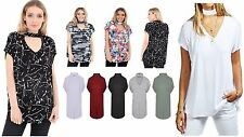 WOMENS PRINTED CAP SLEEVE PLAIN CHOKER V NECK BAGGY LADIES TOP SIZE 8-26