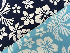 Tropical Palm Leaf & Pineapple Fabric Material Sky Navy Blue 100% Cotton Hawaii