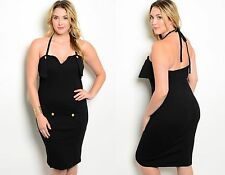 Womens Ladies Black Bodycon Pencil Wiggle Party Dress Plus Size 16 18 20 22