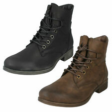SALE LADIES SPOT ON BROWN BLACK ZIP LACE UP MILITARY STYLE ANKLE BOOTS F50480