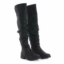 Monterey06 Over The Knee Slouchy Round Toe Riding Boots