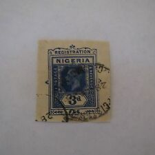 "VINTAGE NIGERIA KGV 3D # 22A USED CUT SQUARE ""REGISTRATION"""