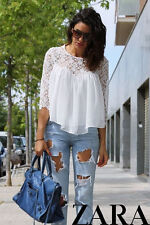 ZARA BEAUTIFUL ROMANTIC BLOUSE WITH CROCHET LACE GUIPURE DETAIL BLOGGERS NEW