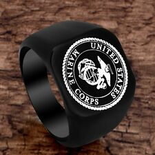 Gothic Vintage US Marine Corps Mens Ring Stainless Steel Band Jewelry Punk Gift