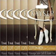 WOMENS 5 PACK KAYSER COTTON RISH LOW CUT ANKLET MASSAGE SOLE Stockings Socks