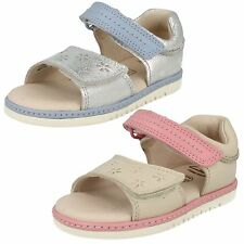 GIRLS CLARKS LEATHER DOUBLE RIPTAPE STRAP CASUAL SUMMER SANDALS SHOES TIKA ICE