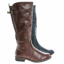 Montesori04k Young Gilr's Fashion Equestrian Riding Boots w Elastic Shaft
