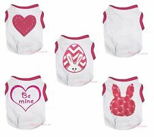Hot Pink White Top T-Shirt Bunny Egg Heart Pet Cat Dog Puppy One Piece Clothes