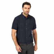 The Collection Mens Navy Striped Textured Regular Fit Shirt From Debenhams