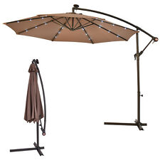 Outdoor 10' Hanging Solar LED Umbrella Patio Sun Shade Offset Market Use W/Base