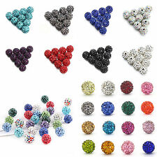 100Pcs Czech Crystal Rhinestone Pave Clay Disco Ball Loose Beads Findings 10MM