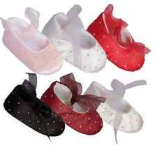 Baby Girls Satin Slip On Soft Soles Wedding Christening Shoes With Ribbon