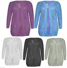 LADIES WOMENS HOLEY KNIT LONG SLEEVE CROCHET KNITTED CARDIGAN PLUS SIZE 16-26