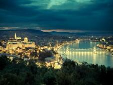 Hungary, Budapest, Castle District, Royal Palace and Chain Bridge over River