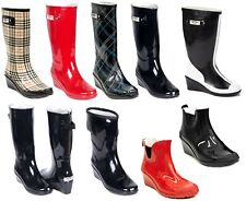 Women  Mid Calf Waterproof Wedge Heel Rubber Rain Boots