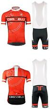 castelli Cycling Clothing Jersey & Bib Shorts Kit Sets Coolmax Padding red