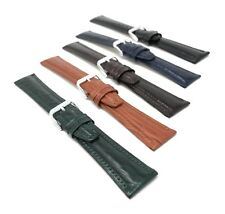 Extra Long (XL) 12mm to 20mm, Classic, Genuine Leather Watch Band Strap, Glossy