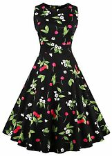 Women's Vintage Sleeveless 1950's Floral Spring Garden Party Picnic Swing Dress