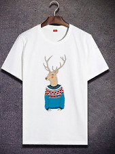 Premium T-shirt Deer Personalized Adult Top Short Sleeve Cotton Tee White
