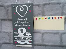 Wedding Chalkboard Plaque Countdown Sign Mr & Mrs Personalised Engagement Gift
