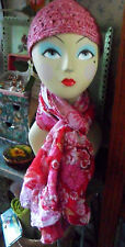 Hand-Crocheted Beanie HAT or French Cotton Floral Pareo SCARF, So Home Pink Red