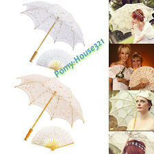 Vintage Wedding Lace Parasol Umbrella Fan Bridal Party Decoration Photo Props AU