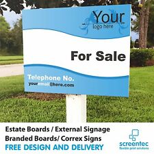 FOR SALE / TO LET Printed Direct Estate Agent Logo Sign Boards x2 Commercial