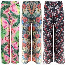 NEW WOMENS FLORAL PRINT PALAZZO TROUSERS LADIES FLARED WIDE LEG STRETCH PANTS