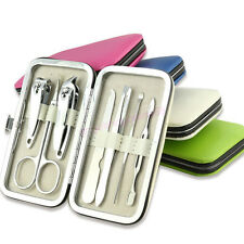 Color Pedicure Manicure Set Cuticle Grooming Kit Portable Nail Clippers Cleaner