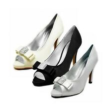 Ladies Satin peep toe high heel court shoes with square diamante bow toe