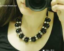 New Style Clear Rhinestone Resin Silk Chain Black White Faux Pearl Necklace