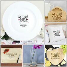 Personalised Mr & Mrs Wedding Gifts, Anniversaries, Newly-weds, New Home Gift
