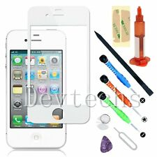 For iPhone 4 4S White Front Outer Screen Glass Lens Replacement/ Tools/ UV Glue
