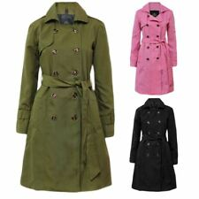 New Womens Trench Button Ladies MAC Double Breasted Belted Coat Jacket Top