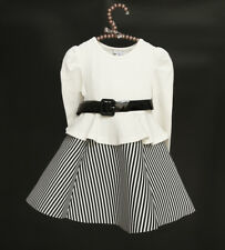 Long-Sleeve Mixed with Bustle Stripe Dress ; White