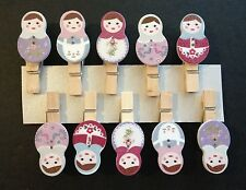 Mini Pegs | Wooden Babushka Doll decorations | Handmade