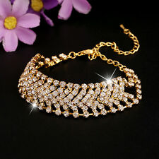 Women Multilayer Alloy Party Wedding Wrap Cuff Bangle Chain Bracelet Gift