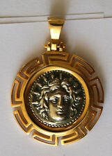 GOD APOLLO GREEK COIN BIG SIZE pendant sterling silver 925 GOLD PLAT code 31
