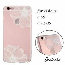 Ultra-Slim Flower Floral TPU PC Clear Back Cover Case for iPhone 6 6S 4.7/ 6Plus