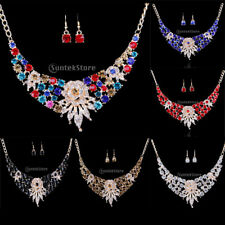 Bridal Wedding Crystal Flower Chunky Necklace Earrings Jewelry Set Party Gift