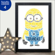 Personalised Grandad Uncle Dad Minion Fathers Day Gifts - Grandad Birthday Print